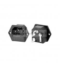 Connettore di alimentazione IEC VDE maschio3 poli da pannello con porta fusibile