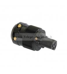 Connettore di alimentazione IEC VDE femmina - Corpo nero - Connettori placcati oro 24k