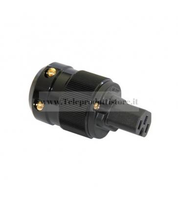 Connettore di alimentazione IEC VDE - Corpo nero - Connettori placcati oro 24k