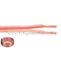 CAVO 2X2,5 mm. BIPOLARE PIATTINA OFC ALTOPARLANTI DIFFUSORI HI-FI BOX SPC-25