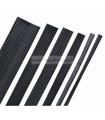 Guaina espandibile intrecciata NERO 1 METRO Ø6mm cavi hi end sleeve poliestere