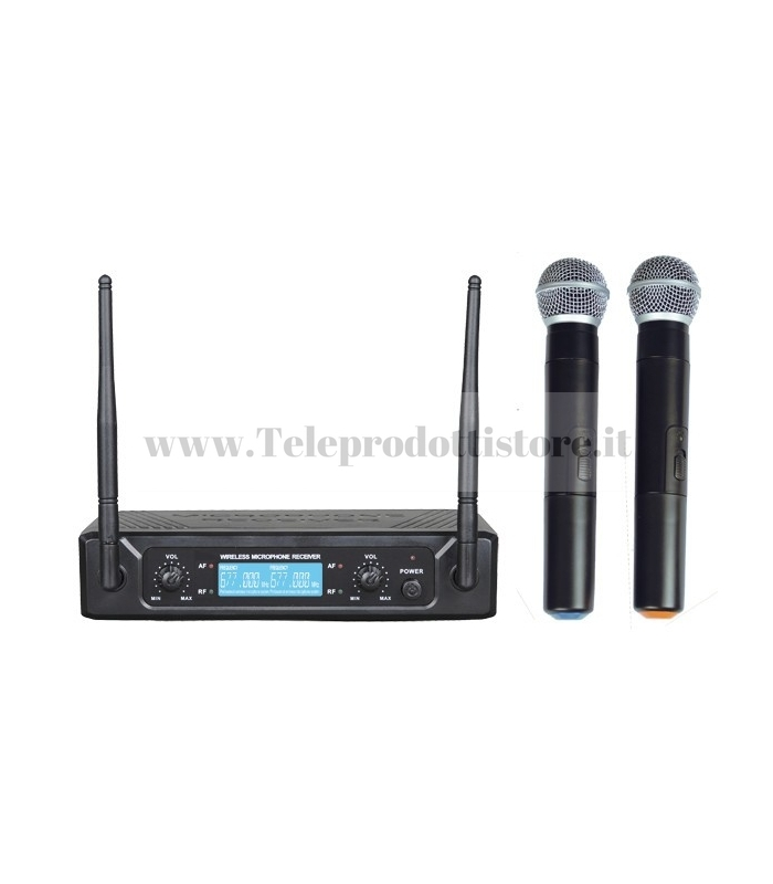 TXZZ502 MONACOR set doppio radiomicrofono wireless uhf 673,30/688,90