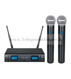 TXZZ620 MONACOR set radiomicrofono wireless con 2 gelati uhf 16ch