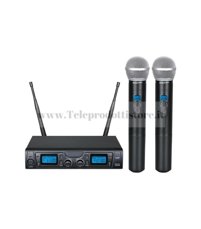 TXZZ620 MONACOR set radiomicrofono wireless con 2 gelati uhf 16ch