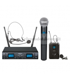 TXZZ622 MONACOR set radiomicrofono wireless con 1 gelato e 1 archetto uhf 16ch