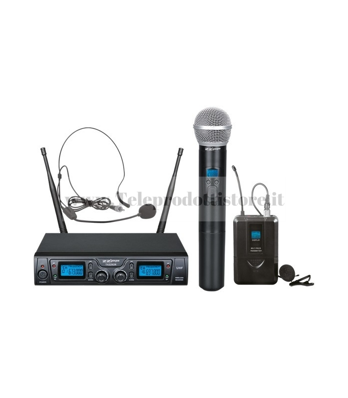 TXZZ622 MONACOR set radiomicrofono wireless con 1 gelato e 1 archetto uhf 16ch