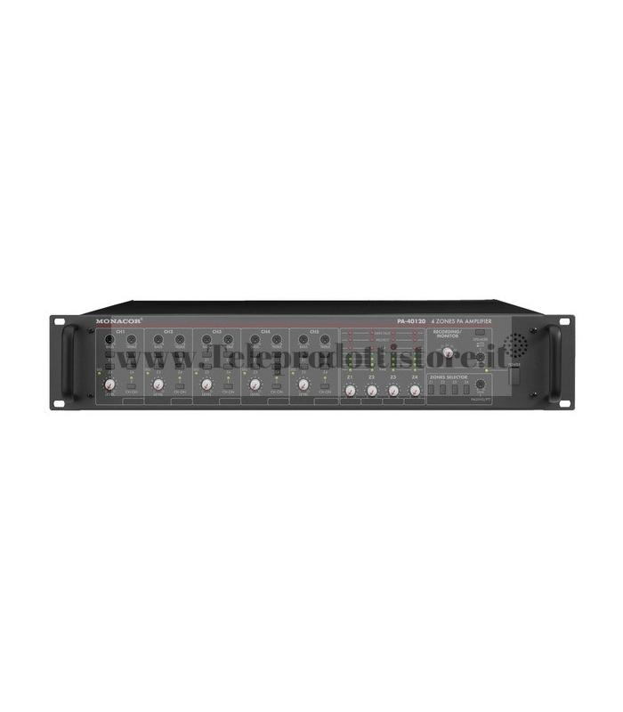 PA-40120 Monacor AMPLIFICATORE mixer 4 ZONE INDIPENDENTI 100V 4x120W PA mono
