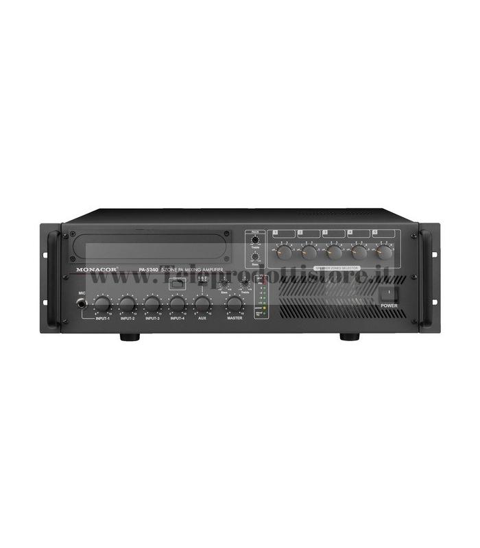 PA-5240 Monacor AMPLIFICATORE mixer 5 ZONE 100V 240W mono PA per 5 zone