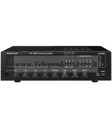 PA-1200 Monacor AMPLIFICATORE mixer 100V 120W 4 INGRESSI 4 ZONE PA mono