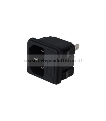 Connettore di alimentazione IEC VDE maschio 3 poli pannello porta fusibile Senza Viti