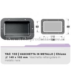 YAC102 Vaschetta ad incasso in metallo nera per connettori terminali