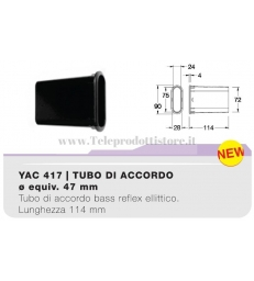 YAC417 tubo di accordo ellittico da 47mm per casse acustiche bass reflex