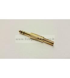 LGCC051S Spinotto connettore jack 6,3 stereo in metallo dorato guidacavo a molla