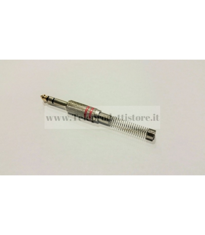 J2RC JACK 6.3 STEREO SPINOTTO CONNETTORE PROFESSIONALE GUIDACAVO MOLLA CROMO