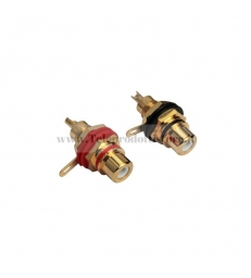 Coppia Connettori RCA femmina da pannello Isolante delrin Placcato oro 24k