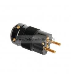 Connettore di alimentazione Shuko nero placcato oro 24k Spina 220v IEC HI END