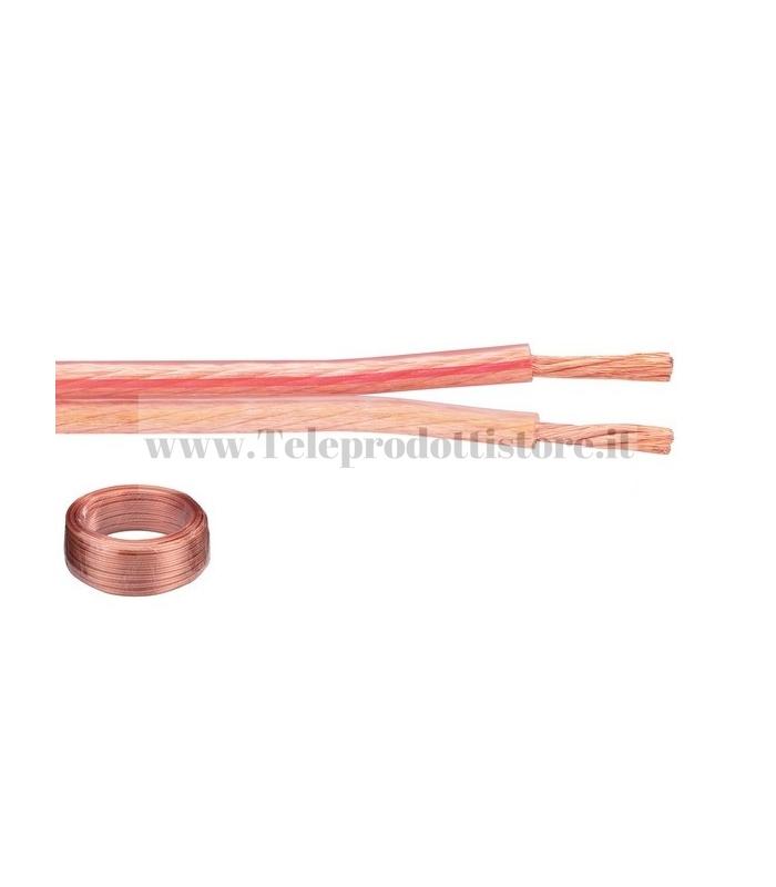 CAVO 2X1,5 mm. BIPOLARE PIATTINA OFC ALTOPARLANTI DIFFUSORI HI-FI BOX
