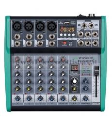 ZZMXBTE6 Monacor mixer audio 6 canali bluetooth USB con effetti dsp