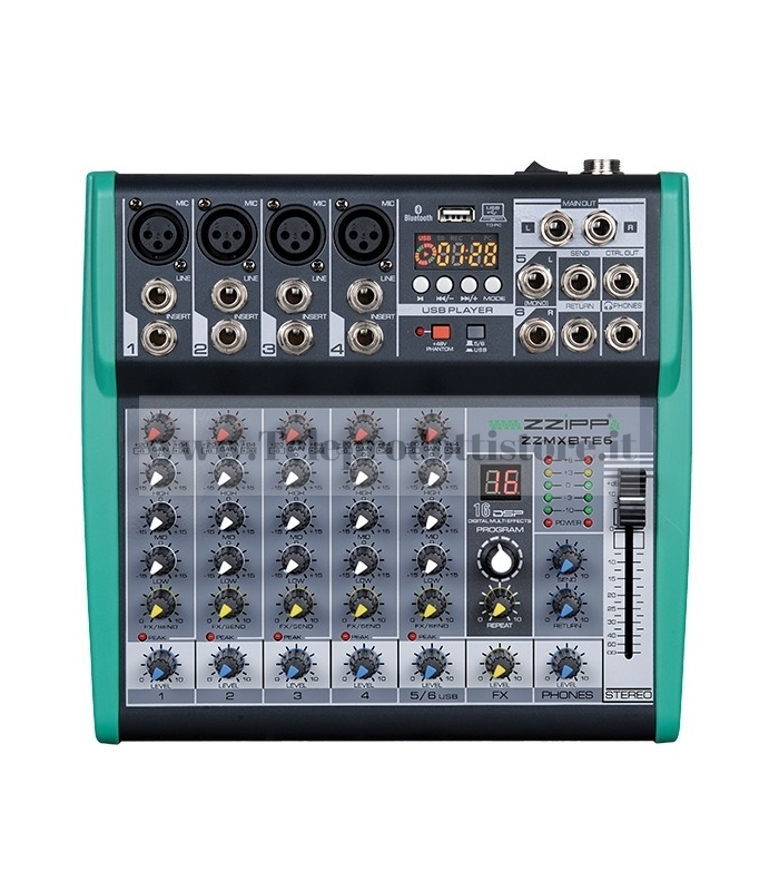 ZZMXBTE6 MONACOR mixer audio 6 canali bluetooth USB con multi effetto