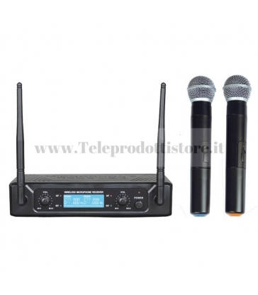 TXZZ502 MONACOR set doppio radiomicrofono wireless uhf 673,30/688,90