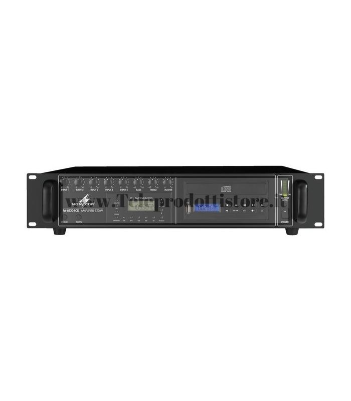 PA-8120RCD Monacor AMPLIFICATORE mixer RADIO/USB/CD INTEGRATO, 100V 120W PA mono