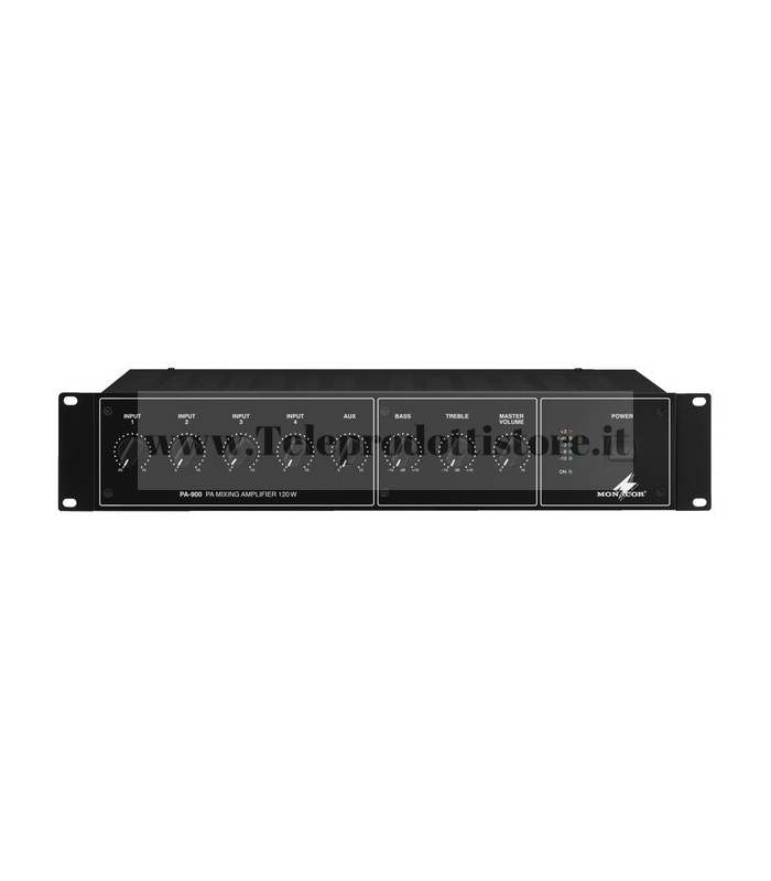 PA-900 Monacor AMPLIFICATORE mixer 100V 120W 4 INGRESSI PA mono
