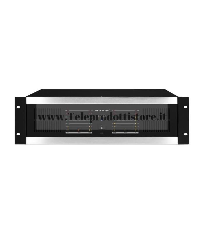 STA-1504 Monacor AMPLIFICATORE stereo multicanale PA 4 canali 4x160WRMS