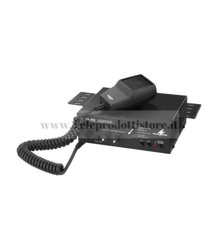 PA-302 Monacor AMPLIFICATORE CON MICROFONO 12V/24V Mixer amplificatore PA mono