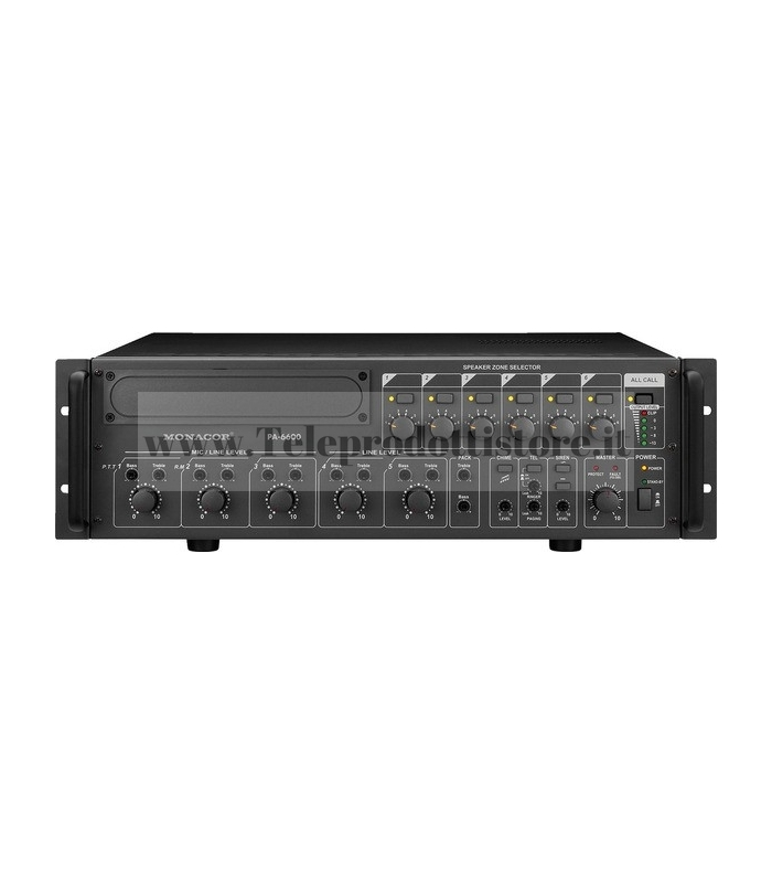 PA-6600 Monacor AMPLIFICATORE mixer 6 ZONE 100V 600W mono PA per6 zone