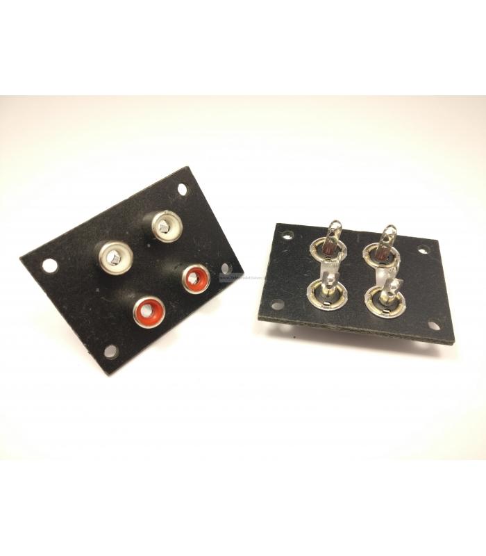 Basetta connettore RCA femmina isolati da pannello con 4 prese coassiali