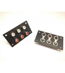 Basetta connettore RCA femmina isolati da pannello con 6 prese coassiali