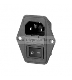 Connettore presa di alimentazione IEC VDE da pannello con porta fusibile ed interruttore nero