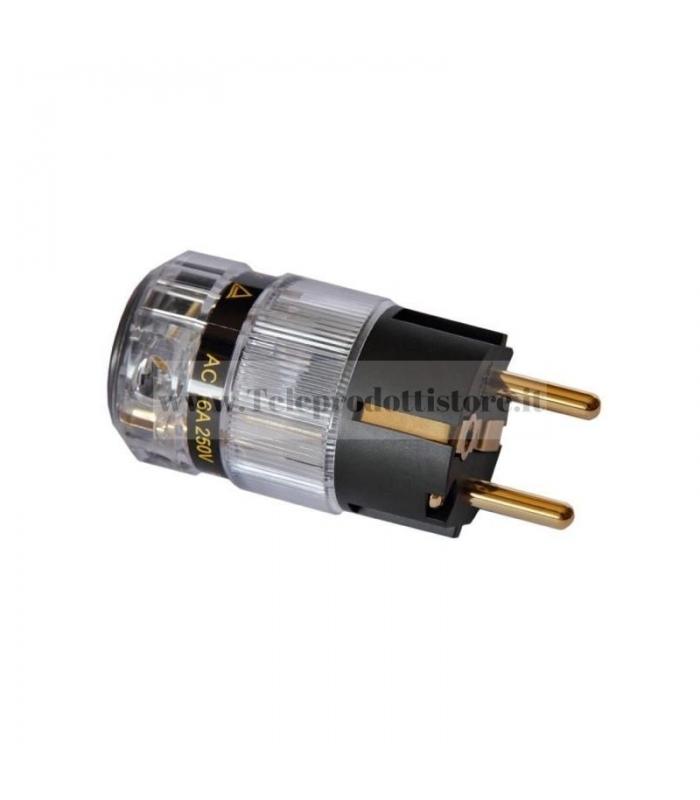 Connettore di alimentazione Shuko trasparente placcato oro 24k Spina 220v IEC HI END