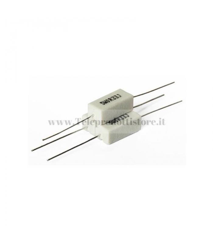 RR05001.00 RESISTORE Ceramico 1.00 OHM 5W 5% Assiale CROSSOVER Filtro Hi-Fi