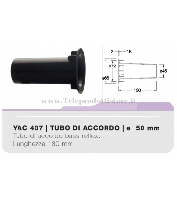 YAC407 tubo di accordo da 50mm in ABS per casse acustiche bass reflex