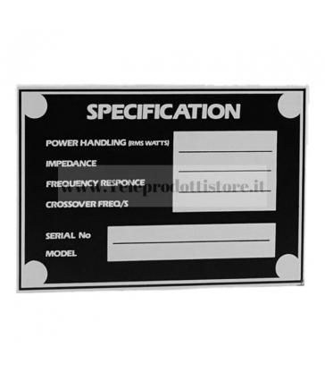 5800 Targhetta in alluminio specifiche per diffusori casse acustiche JBL Mackie Martin
