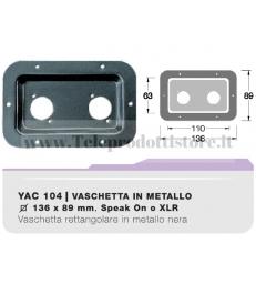 YAC104 Vaschetta ad incasso forata in metallo nera per speakon xlr