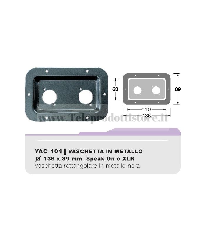 YAC104 CIARE Vaschetta porta terminali ad incasso forata in metallo per speakon xlr