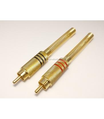 Coppia connettori RCA maschio spinotto in metallo Ø6,8 placcato oro con guidacavo