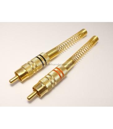 Coppia connettori RCA maschio spinotto in metallo Ø6,2 placcato oro con guidacavo
