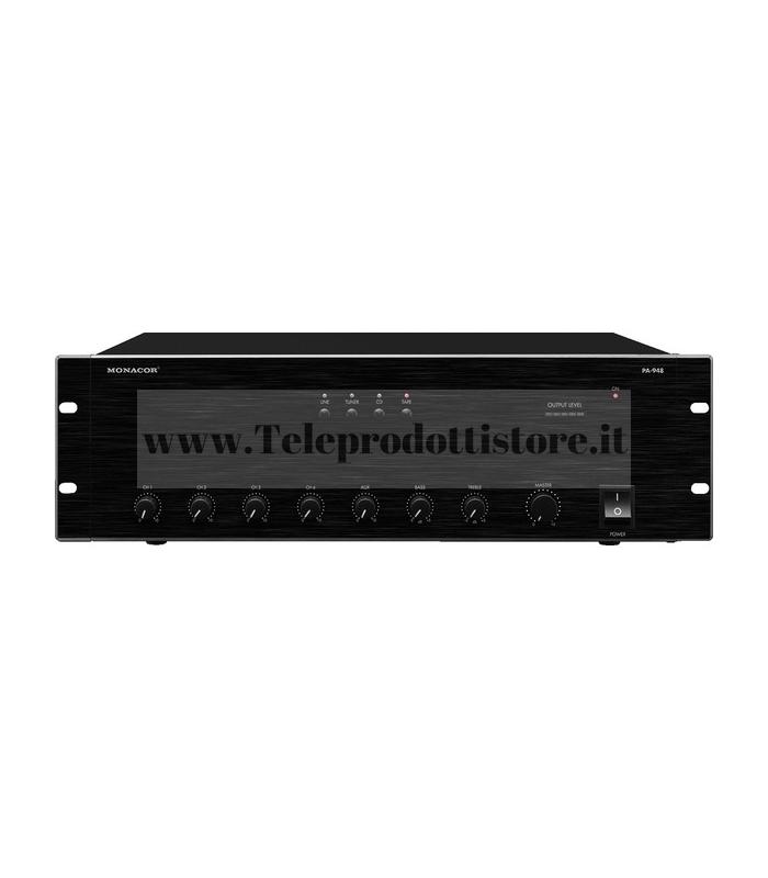 PA-948 Monacor Amplificatore mixer 100v480w 4Ingr Mic 4Ing RCA L 1ing RCA Out