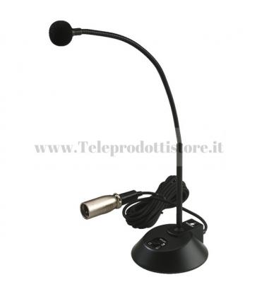 ECM-310P Monacor Microfono PA da tavolo con collo di cigno Cavo 3mt XLR