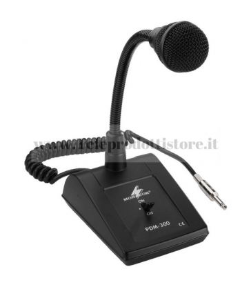 PDM-300 Monacor Microfono PA da tavolo collo di cigno conn jack mono 6,3 Cavo 1m