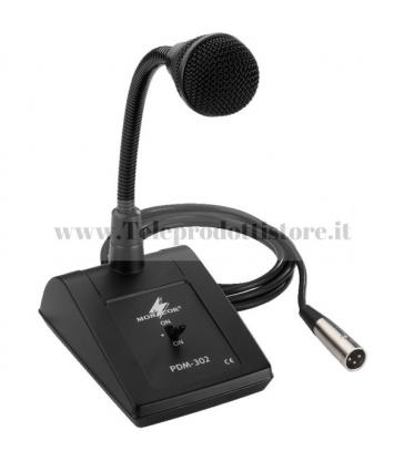 PDM-302 Monacor Microfono PA da tavolo con collo di cigno XLR base microfonica