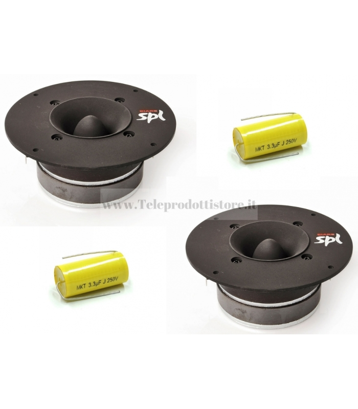 COPPIA CT-382 TWEETER CIARE 400W SPL CAR AUTO 6 Ohm con condensatori CT 382 CT382