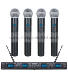 TXZZ640 MONACOR set radiomicrofono con 4 gelati uhf 16 canali