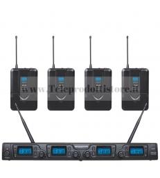 TXZZ642 MONACOR set radiomicrofoni con 4 archetto uhf 16 canali radio microfoni