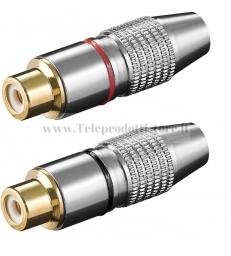 11907 COPPIA SPINOTTI RCA FEMMINA CONNETTORE IN METALLO Cavo: Ø 6.2mm