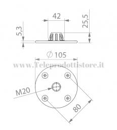 SM720 Supporto flangia tazza a vite in alluminio metallo per diffusori sub incasso